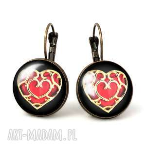serce - duże kolczyki wiszące, walentynki, prezent