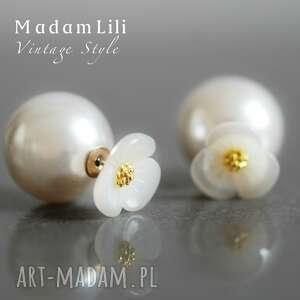 podwójne kolczyki kwiat i perła, perły, kwiaty, kwiatek, kolczyki, wkrętki, róź