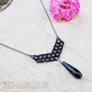 jewelsbykt elegancja czerni - naszyjnik, srebrna biżuteria, srebrny naszyjnik