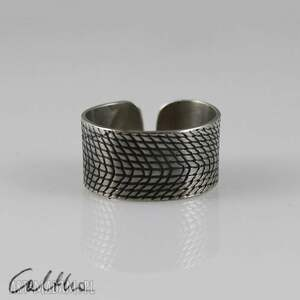 Kratka - metalowy pierścionek, pierścień, szeroki, metalowy, alpaka
