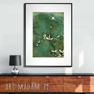 grafika w ramie drobne listki 30x40, liście, nowoczesne, z zielenią, natura