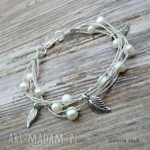 hand-made bransoletki perły i liście - bransoletka lniana