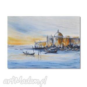 wenecja, obraz ręcznie malowany, obraz, ręcznie, pejzaż, morski