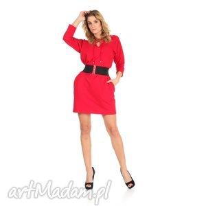 46-sukienka sznurowany dekolt,czerwona,rękaw 3/4,pasek , lalu, sukienka, dzianina