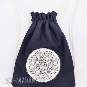 plecak worek z mandalą, mandala, haft, naszywka, plecak, worek, natura