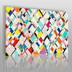 obraz na płótnie - romby kolorowy 120x80 cm 61501, romby, harlekin