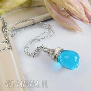 błękitna łezka - wisiorek - niebieska, łezka, szklana, wisiorek