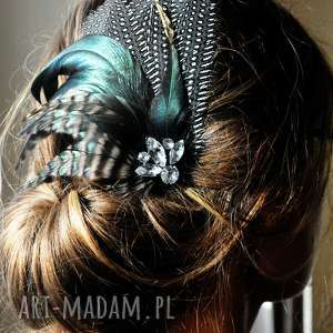 ozdoby do włosów fascynator z piór,,zielona elegancja, fascynator, spinka, broszka