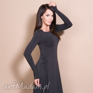 Sukienka maxi, t143, ciemnoszara sukienki tessita sukienka