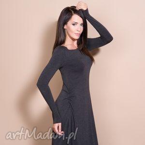 sukienka maxi, t143, ciemnoszara, sukienka, dzianina, wiskoza, luźna