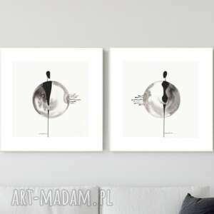 zestaw 2 grafik 30x30 cm wykonanych ręcznie, abstrakcja, 2700064, obraz ręcznie