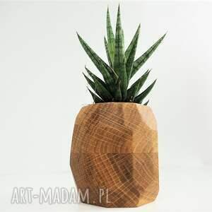 wazony doniczka geometryczna - planter na sukulenty, doniczka, geometryczny, drewno