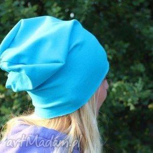 czapka dresowa beanie smerfetka turkus - czapka, bawełniana, dresowa, beanie, oversize