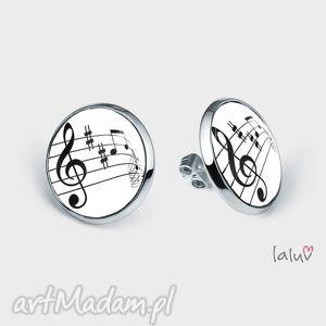 kolczyki sztyfty klucz wiolinowy, wkrętki, muzyka, śpiew, nuty, prezent