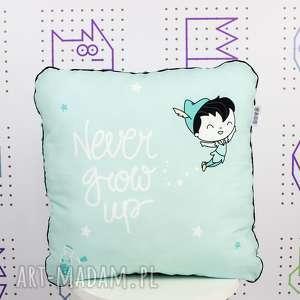 poduszka never grow up 46x46, poduszka, dekoracyjna, piotruś, pokój, chłopca