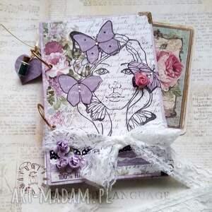 Notes urodzinowy/ 100% HAPPY, motyle, wiosna, dziewczyna, lawenda, róże,