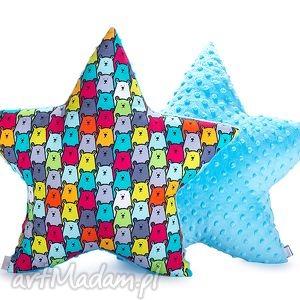 pokoik dziecka poduszka gwiazda - turkusowe niedźwiady, poduszka