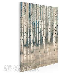 Obraz na płótnie - brzoza drzewo las beżowy w pionie 50x70 cm