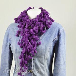 szaliki pom-pon scarf - fioletowy, szalik, apaszka, oryginalny, fioletowy