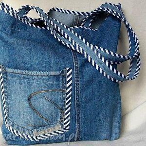 Torba Z Jeansu Wykończona Lamówką, torba, eko-torba, jeans, bawełna, paski, prążki