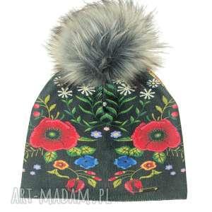 Prezent Czapka beanie pompon z futra, kwiaty, maki, prezent, pompon, nadruk, czapka