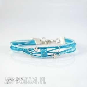 bransoletka - niebieska kostka sznureczki, bransoletka, kostka, sznurek, gwiazdki