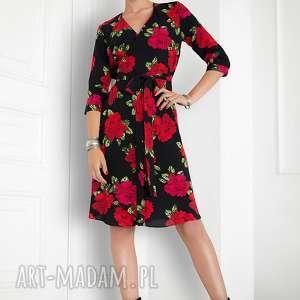 Kopertowa sukienka w róże, zakładana, elegancka,