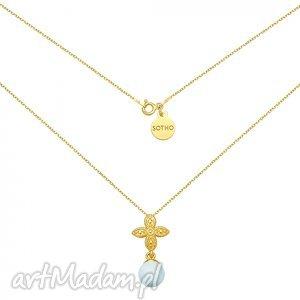 sotho złote kolczyki z rozetką i niebieską perłą