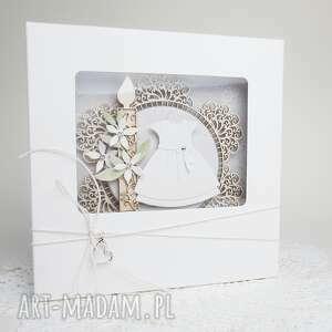 chrzest dziewczynki - w pudełku, życzenia, pamiątka dziewczynka koronki