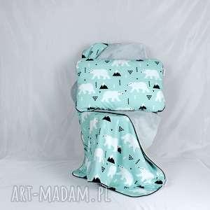 zestaw kocyk i płaska poduszka niedźwiedź polarny, zestaw, prezent, wyprawka
