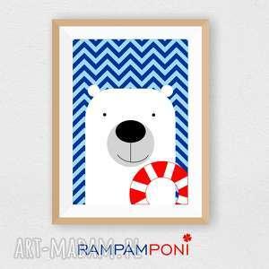 plakat dla dzieci miś ratownik a4 - miś, marynarski, pokoik, ozdoba, dziecko