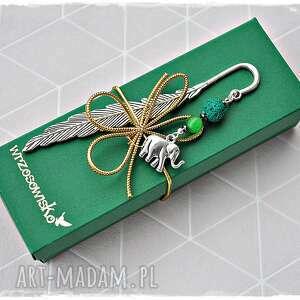 zielony słoń - zakładka, prezent na szczęście, słoń, szczęście