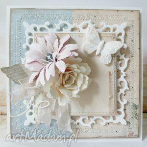 handmade scrapbooking kartki pastelowa z motylem