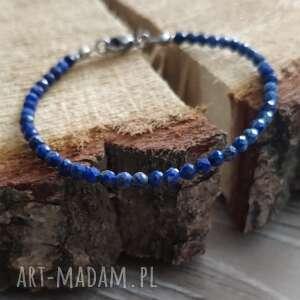 bransoletka z lapis lazuli - stormy sky, lapislazuli, lazuryt