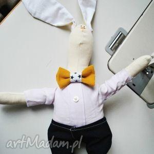 pan królik, przytulanka, handmade, ręcznie, chłopca, urodziny, prezent dla dziecka