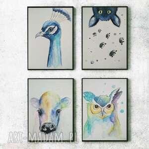 zwierzęta - 4 akwarele, zwierzęta, papier, farba, akwarela, kredki