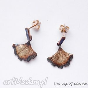 Kolczyki srebrne - mini miłorzęby brązowe venus galeria