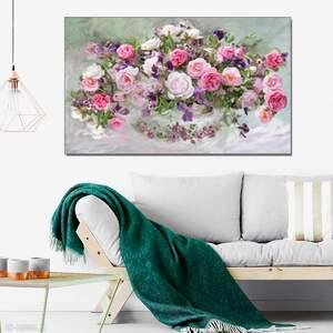 Róże w wazonie, obraz na płótnie 100 x 60, glamour do salonu