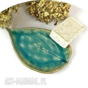ceramika ceramiczna mydelniczka turkusowy liść, polskie rzemiosło, polska