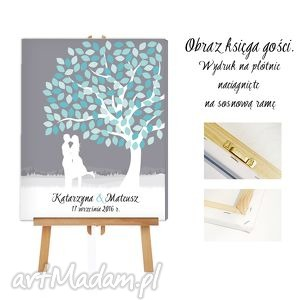 Obraz a laksięga gości - drzewo zakochanych 50x70, ślub, wesele, księga,
