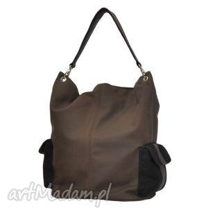 17-0014 brązowa torba damska worek / torebka na studia stork, makowe, modne