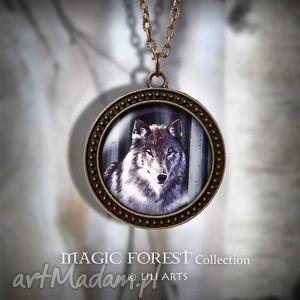 naszyjnik, medalion - szary wilk - antyczny brąz - zdobiony - naszyjnik, medalion