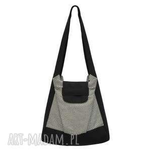 644691cf080f1 na ramię 01-0001 biało-czarna torba worek zakupy humming-bird maxi,