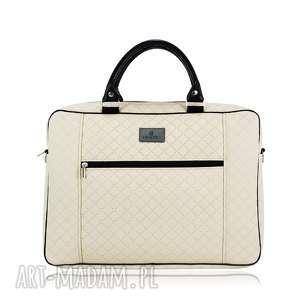 torba na laptopa 1231 - praktyczna, pikowana, duża, na ramię