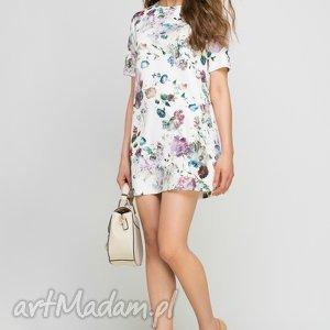 Sukienka mini, SUK144 kwiaty, wzór, rozkloszowana, casual, letnia, kobieca