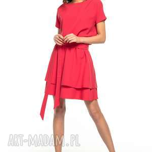sukienka z podwójną spódnicą, t268, czerwona - elegancka, sukienka