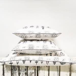 ręcznie robione poduszki komplet 3 poduszek dekoracyjnych z grubej bawłeny