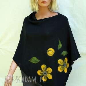 czarne ponczo z wzorem filcowym, bawełniane, letnie ponczo