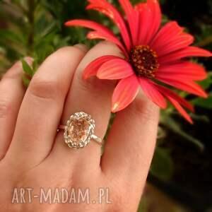 artymateria srebrny pierścionek z kamieniem słonecznym, kamień słoneczny, retro