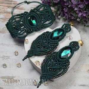 komplet biżurerii w odcieniach butelkowej zieleni, biżuteria makrama, makrama